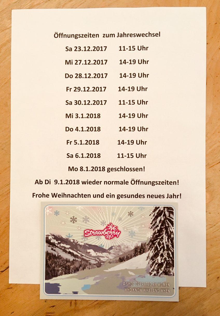 Öffnungszeiten zum Jahreswechsel